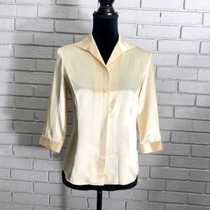 Lafayette 148 Silk Short Sleeve Button-Down Blouse